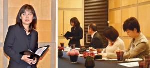 ソルガムきびの概要説明をするオフィス・マネージャー 星澤(左) 熱心にメモを取る参加者たち(右)