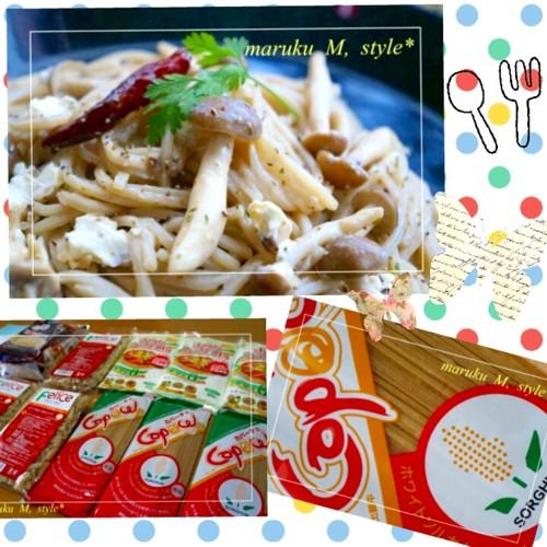 ソルガムきびのカパーチェでモチモチ~キノコとクリームチーズのパスタ