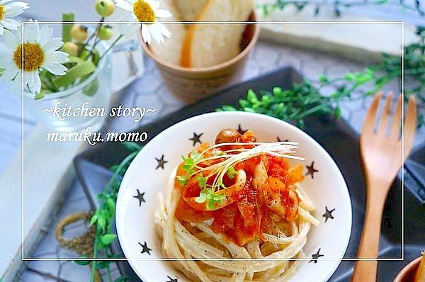 レモンマヨパスタ*ヤリイカと新玉ねぎのトマトソース
