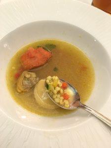 特別メニュー ホワイトソルガムきびのサフラン風味のポワソンスープ
