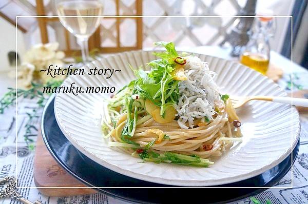 水菜とシラスのペペロンチーノ